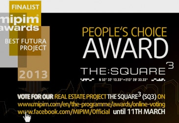 Our new project THE SQUARE ³ shortlisted in MIPIM awards